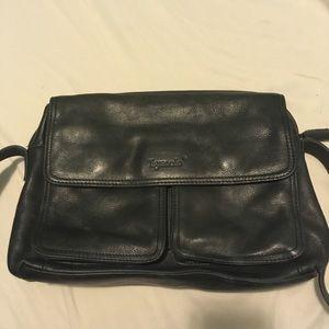 Black leather Tignanello shoulder bag
